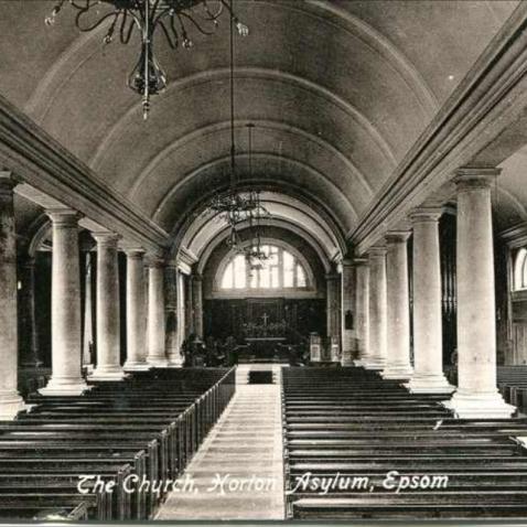 victorian postcard of horton chapel interior